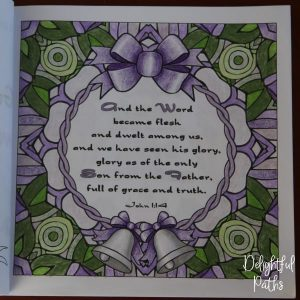 Christmas adult coloring book from Delightful Paths John 1-14