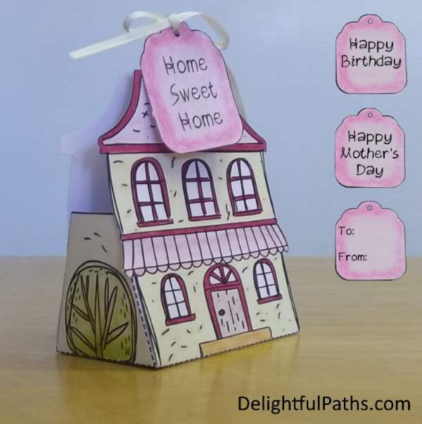 cute cottage coloring gift box with tags and Bible verse DelightfulPaths