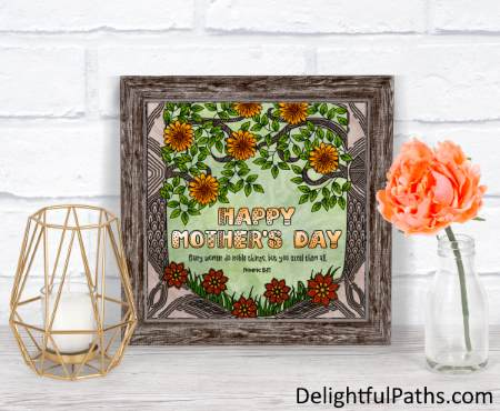 Forest flowers Proverbs 31 mothers day coloring page free printable in frame DelightfulPaths