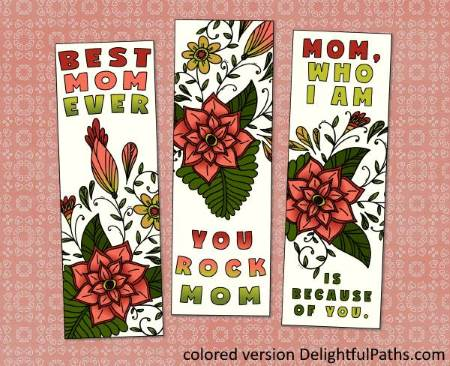 Mothers Day Printable Coloring Craft - bookmarks from lovepapercrafts DelightfulPaths