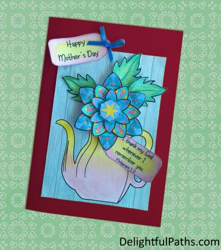 Mothers Day Printable Coloring Craft - card from DelightfulPaths