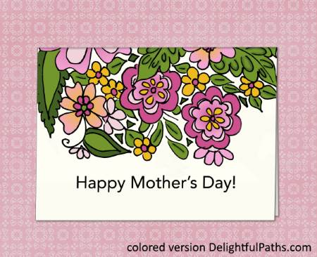 Mothers Day Printable Coloring Craft - card from SmilingColors DelightfulPaths