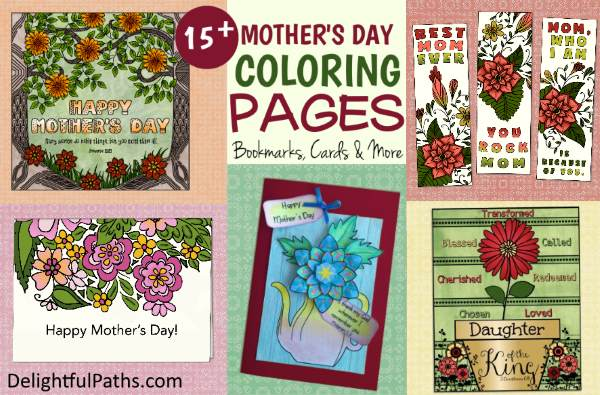 mothers day printable coloring crafts roundup DelightfulPaths