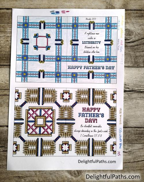 Fathers day metal pattern bible verse adult coloring cards colored DelightfulPaths