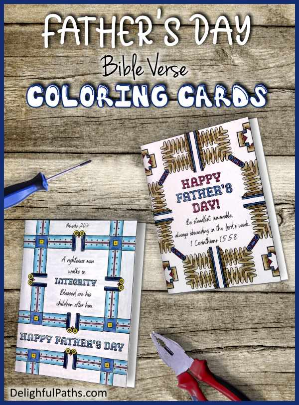 Fathers day metal pattern bible verse adult coloring cards x2 DelightfulPaths2