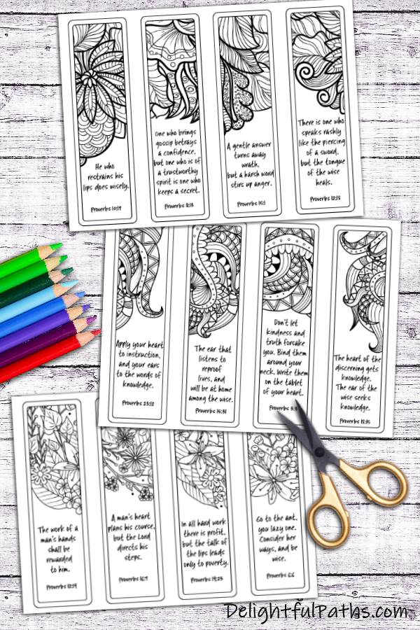 Make DIY coloring bookmarks from printables. Click here for free printable #coloringforadults #coloringpages #bookmarks #papercraft #printable