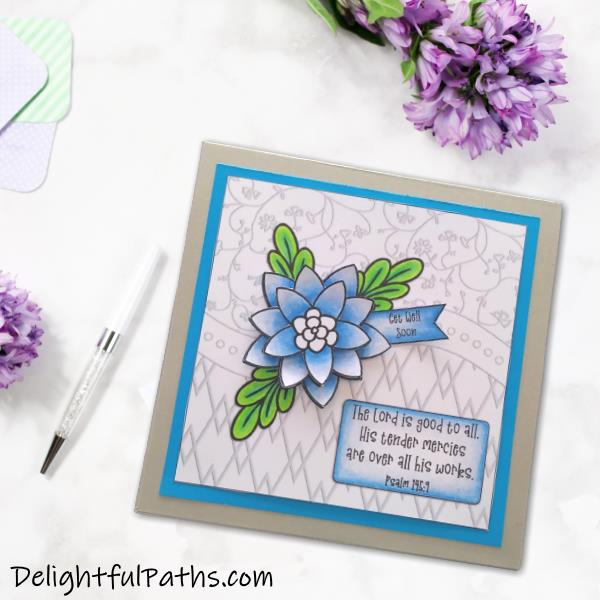 How to make an easy coloring handmade card with 3D flower from free printable. Click here for template and tutorial #coloringforadults #coloringpages #papercraft #printable #handmade