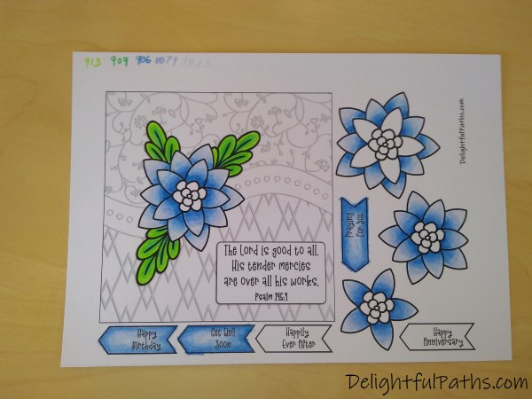 Psalm 145 easy 3D flower greeting card coloring page colored DelightfulPaths