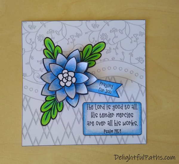 Psalm 145 easy 3D flower greeting card coloring page stick flower onto card backing DelightfulPaths