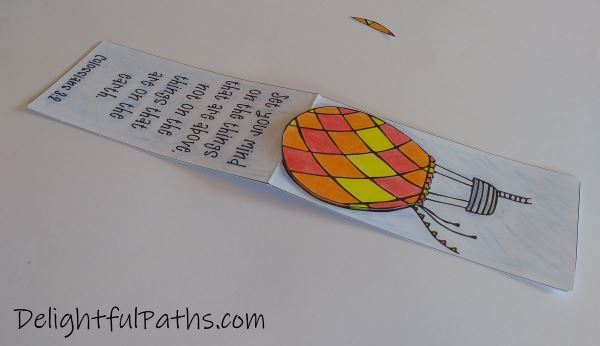 Things above Bible verse coloring magnetic bookmarks attach balloon DelighfulPaths