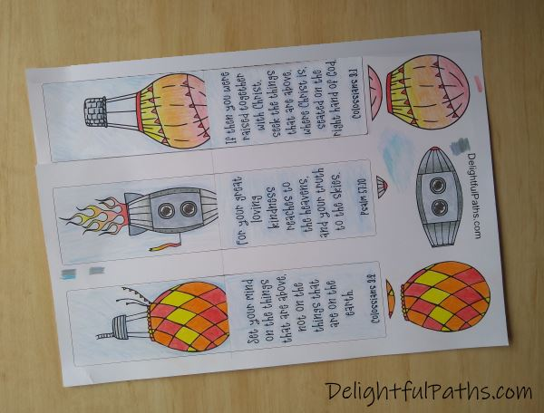 Things above Bible verse coloring magnetic bookmarks colored DelighfulPaths