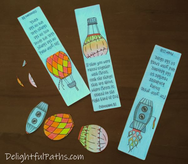 Things above Bible verse coloring magnetic bookmarks cut out pieces DelighfulPaths