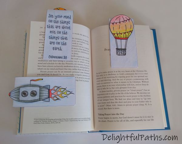 Things above Bible verse coloring magnetic bookmarks finished DelighfulPaths