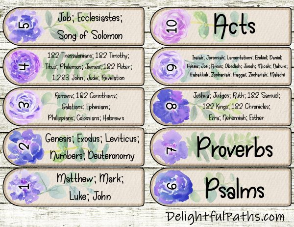 Horner Bible Reading Plan instructions with free printable watercolor floral Bookmarks DelightfulPaths