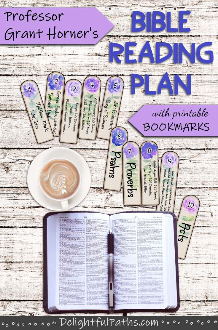 Read the Bible in less than a year with this Bible Reading Plan. Includes instructions and free printable bookmarks DelightfulPaths #bible #biblestudy #printables #bookmarks #coloring #watercolor
