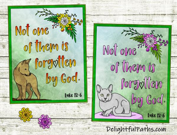 dog & cat sympathy cards luk 12-6 cut out DelightfulPaths