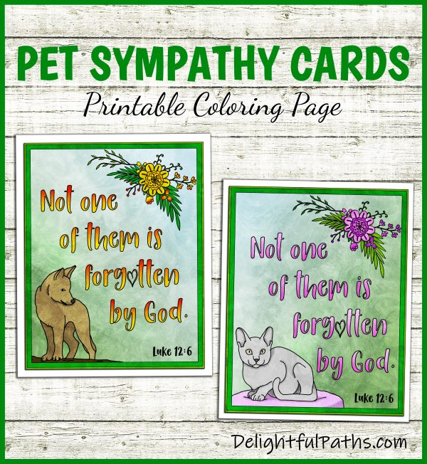 Make handmade printable pet sympathy cards from DelightfulPaths. Click here for free printable #coloringforadults #coloringpages #papercraft #printable