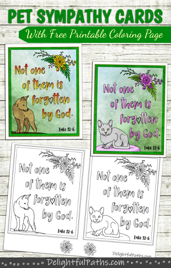 Make handmade coloring printable pet sympathy cards from DelightfulPaths. Click here for free printable #coloringforadults #coloringpages #papercraft #printable