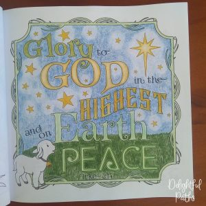 Christmas adult coloring book from Delightful Paths Luke 2-14b