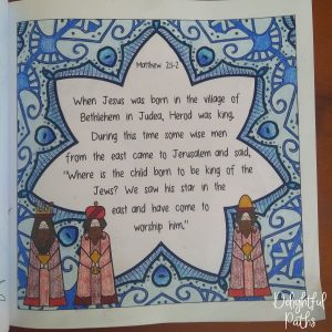 Christmas adult coloring book from Delightful Paths Matthew 2-1-2