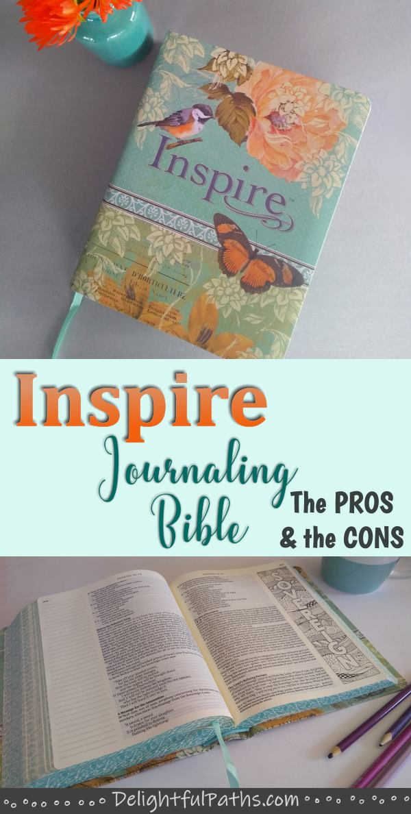 NLT inspire journaling Bible review pinterest DelightfulPaths #bible #biblejournaling #journalingbible #coloringbooks #wordart