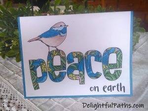 The Color Catalog finished Peace christmas card DelightfulPaths
