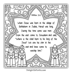 Download this free Christmas adult Bible coloring page Matthew 2:1-2 from Delightful Paths #freeprintables #coloringpages #bibleverse #adultcoloringpages