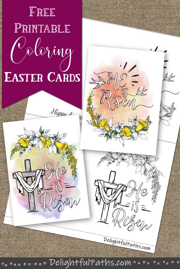 Two He is risen printable Easter cards to color from DelightfulPaths
