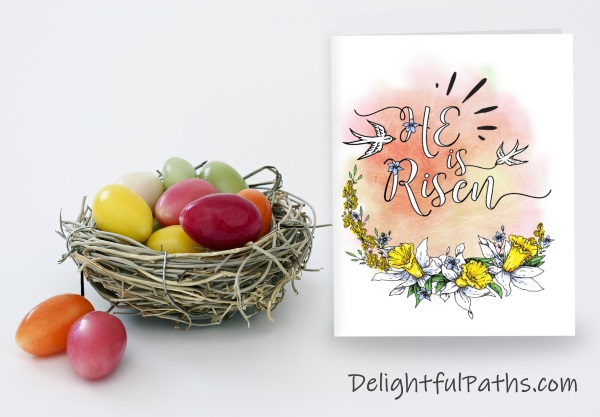He is risen religious printable Easter card to color from DelightfulPaths