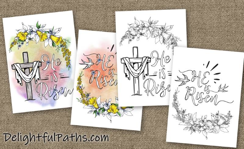 Two He is risen printable Easter cards to color DelightfulPaths