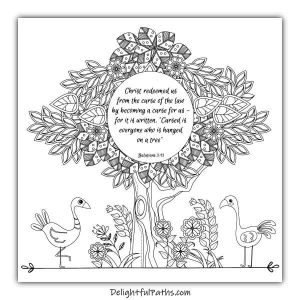 Download this free adult Bible coloring page Galatians 3:13 from Delightful Paths #freeprintables #coloringpages #bibleverse #adultcoloringpages