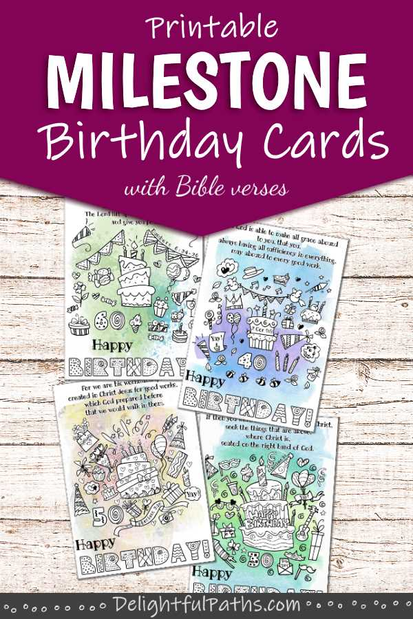 printable milestone age birthday cards 30 40 50 60 DelightfulPaths