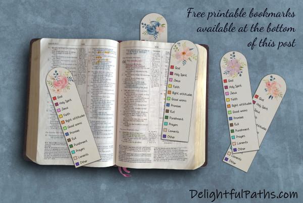 https://delightfulpaths.com/wp-content/uploads/2021/07/Bible color coding watercolor bookmarks complete DelightfulPaths